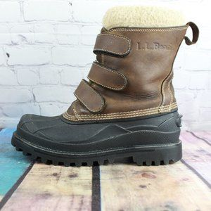 LL BEAN Hook & Loop Shearling Lined Snow Boot Sz 9